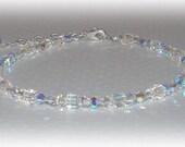 Swarovski Crystal Anklet Beaded Ankle Bracelet Crystal Clear AB Austrian Crystal