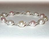 Pearl Wrapped Bracelet Swarovski Crystal Pearls Bridal Party Wedding Bridesmaids Jewelry Pink White Blush