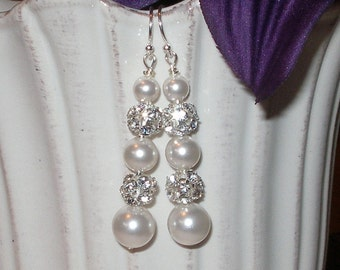 Pearl Rhinestone Earrings Bridal Wedding Jewelry Bridesmaids Pearls Sterling Silver White Ivory Gold