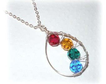 Mothers Birthstone Pendant Necklace