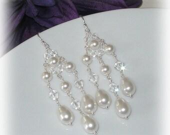 Swarovski Crystal and Pearl Chandelier Earrings