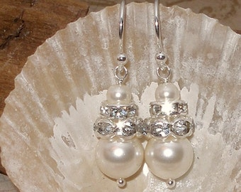 Pearl Bridal Wedding Earrings Crystal Accents Ivory Silver Bridesmaids Pearls