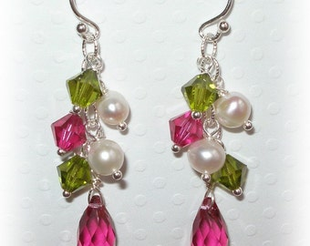 Bridesmaid Crystal Earrings Jewelry Bridal Accessories Pearls Pearl Wedding Bridesmaids Gifts Sterling Silver Swarovski