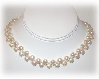 Sterling Silver and Button Pearl Necklace