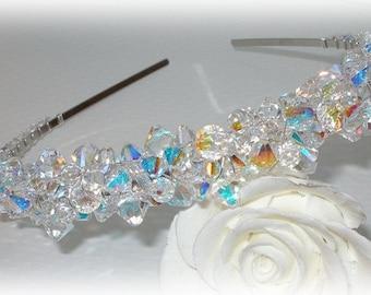 Swarovski Crystal Tiara Clear AB Aurora Borealis Rainbow Crystals Beaded Sparkly Silver Crown Headband Head Band