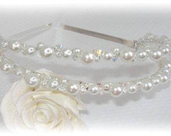 Bridal Tiara First Communion Crown Headband Head Band Wedding Swarovski Pearl Crystal