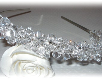 Swarovski Crystal Tiara Clear Crystals Beaded Sparkly Silver Crown Headband Head Band