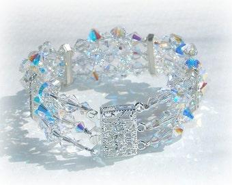 Swarovski Crystal Cuff Bridal Bracelet Wedding Brides Jewelry Crystals Clear AB Silver Three Strand Triple