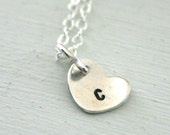 Personalized necklace - simple sterling silver jewelry - tiny heart initial necklace