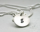 Personalized necklace - One initial necklace - hand stamped personalized jewelry