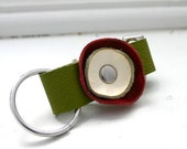 Green Red White leather key fob