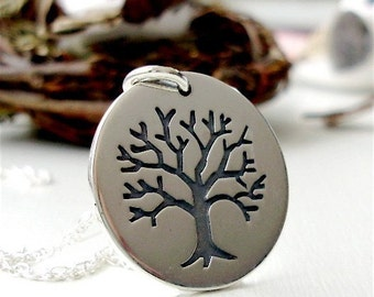 Sterling silver etched tree of life necklace