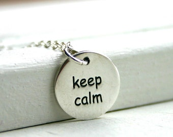 Sterling silver Keep Calm Carry On charm necklace
