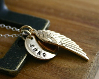 Hand stamped jewelry - bronze SOAR with angel wing necklace - mixed metals Handstamped necklace