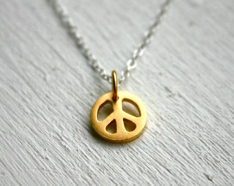 Gold peace sign necklace - two tone sterling silver jewelry - charm necklace- peace jewelry- Christmas Present Stocking Stuffer for daughter
