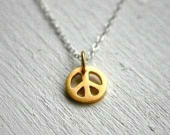 Gold peace sign necklace - two tone sterling silver jewelry