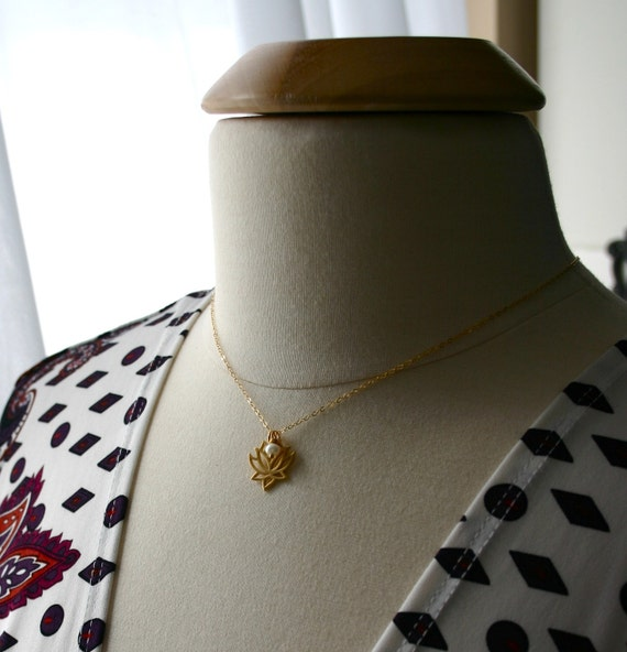 Gold lotus necklace with white pearl - Yoga jewelry - Lotus flower charm
