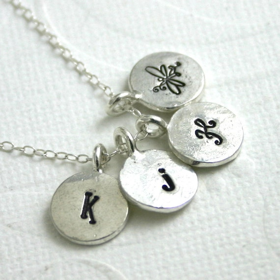 Mothers personalized necklace - 4 four charm initial necklace