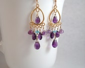 African amethyst, neon apatite and gold small chandelier earrings - February birthstone