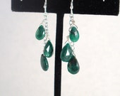 Reserved for FoxtrotOmega - genuine emerald and sterling silver dangle earrings, May birthstone - made to order