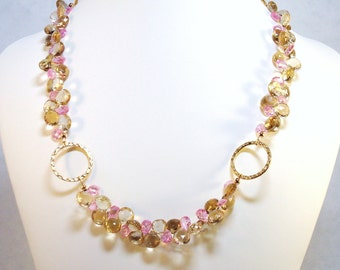 "Champagne quartz and pink CZ briolette necklace - the ""I'm Sorry Honey"" neck piece, statement necklace"