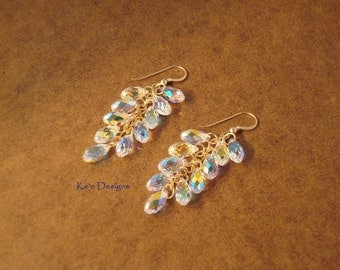 "clear crystal dangle earrings - ""Spectacle 11"""