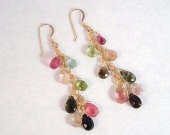 Watermelon Tourmaline gold dangle earrings - Made to order
