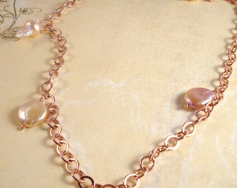 rose gold coin pearl and keishi pearl opera length necklace - made to order