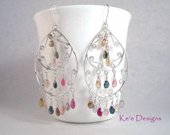 multi color genuine sapphire large argentium sterling silver .930 chandelier earrings