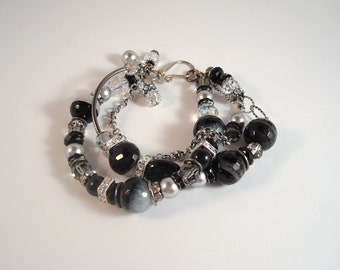 """agate, crystal and  crystal pearl 3-strand silver and gun metal bracelet, size 7.5 - 8  from my """"Wine Scene"""" collection"""