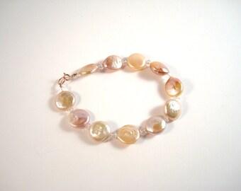 coin pearl, genuine morganite and rose gold bracelet - made to order, bridal, June birthstone