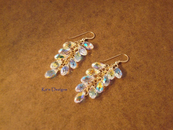 "clear crystal dangle earrings - ""Spectacle 11"" - made to order"