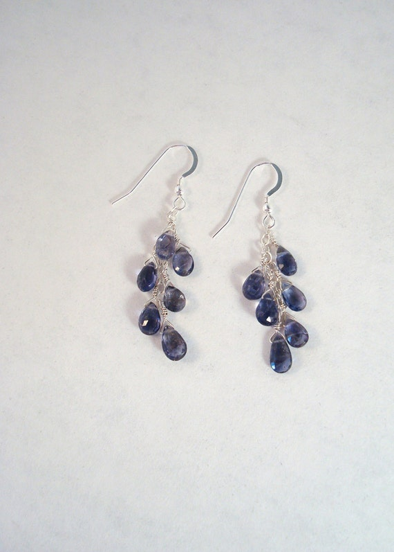 iolite gemstone and sterling silver dangle earrings - use coupon code TAKE7OFF on sapphire, kyanite or iolite earrings during September