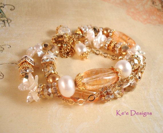 Citrine, white cultured and keishi pearl, and crystal 3 strand gold bracelet, size 7 - November birthstone
