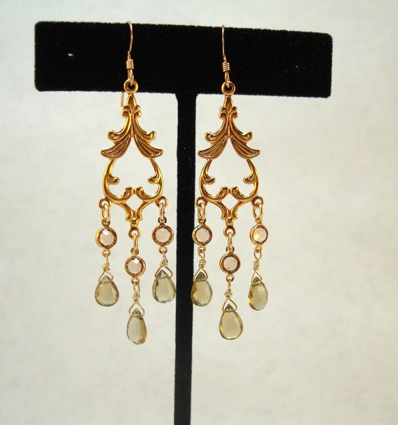 olive quartz and brown crystal gold chandeliers