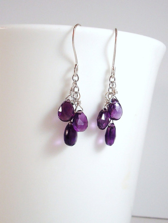 African amethyst gemstone and argentium sterling silver dangle earrings - February  birthstone