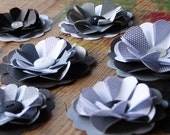 6 Paper Flowers - Silver and Black - Upcycled Paper Flower Decorations