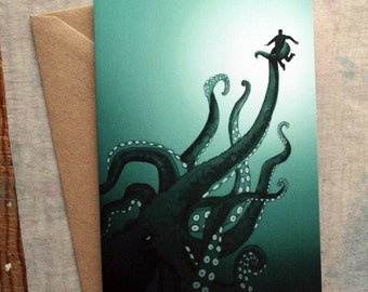 Giant Octopus Greeting Card - Father's Day