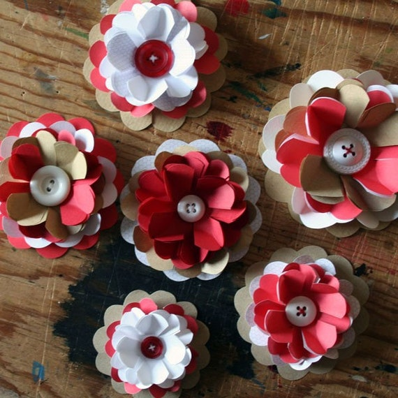 6 Red, White and Brown Recycled Paper Flowers