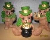 Three Ceramic Irish Bears