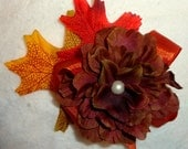 Fall Autumn Flower and Leaves Hair Bow