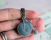 my ride necklace. penny farthington high bicycle. silver ox