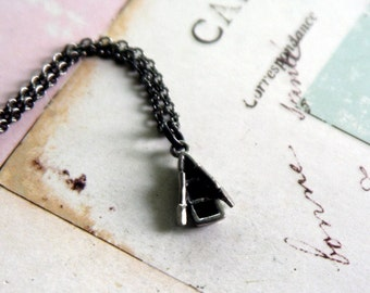 boat. necklace. pewter and gunmetal