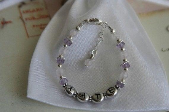 Child's Gemstone Princess Bracelet. with Personalization