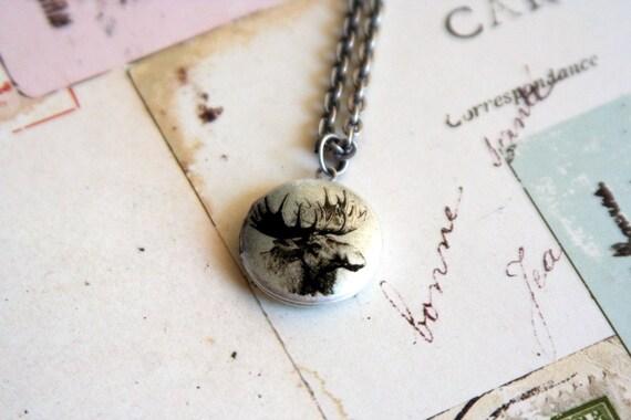 moose head. locket necklace. aqua and silver ox