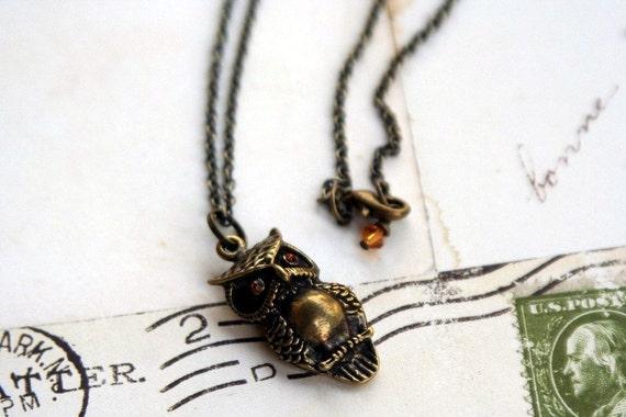 owl eyes. pendant necklace. antiqued brass