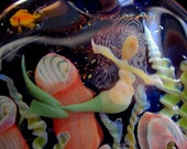 MERMAID PENDANT Lampwork Focal Art Glass ocean scene with coral fish plant life dichroic glass and an opal  made by Helen Lee Hoffman