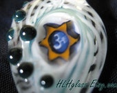 OM Sweet OM Lampwork Latticino Fancy Glass Pendant with black dots and and an Om Symbol made with LOVE by Helen Lee Hoffman