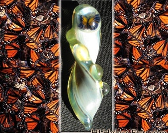ART GLASS PENDANT Handmade Beads Monarch Butterfly Detailed Lampwork Pyrex pendant Focal Centerpiece Glass for Art made for Etsy