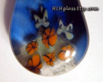 HAPPY GARDEN with Butterflies and Flowers Focal Pendant Lampwork Glass Bead Made with Love by Helen Lee Hoffman